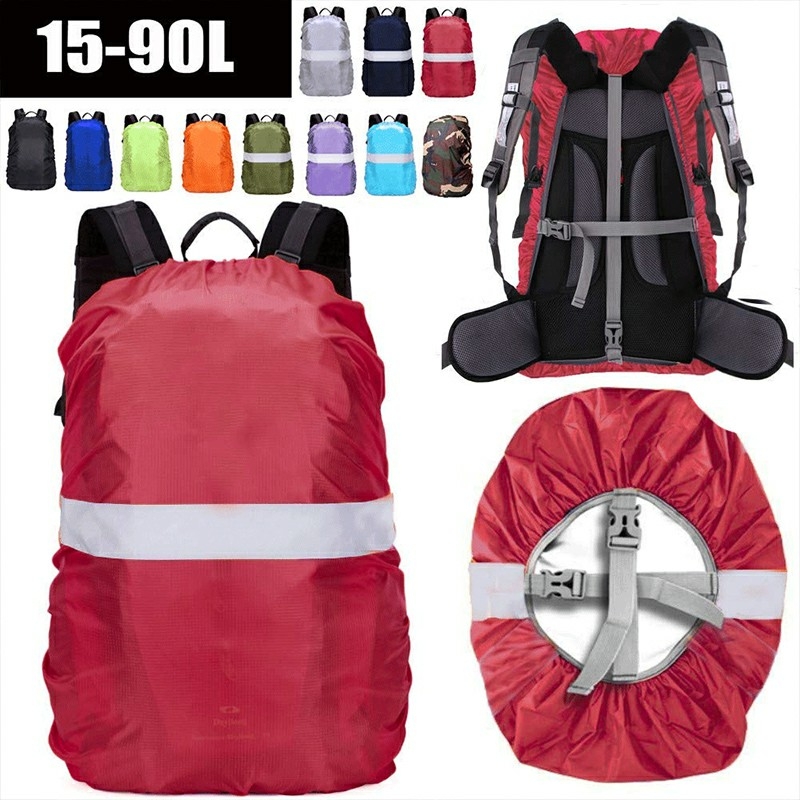 Outdoor Reflective Function Waterproof Dustproof Backpack Rain Cover Shoulder Bag Cover Red - XL
