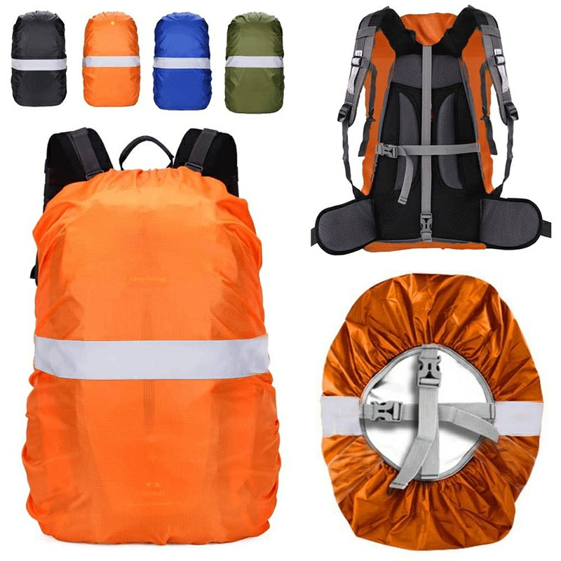 Outdoor Reflective Function Waterproof Dustproof Backpack Rain Cover Shoulder Bag Cover Orange - L