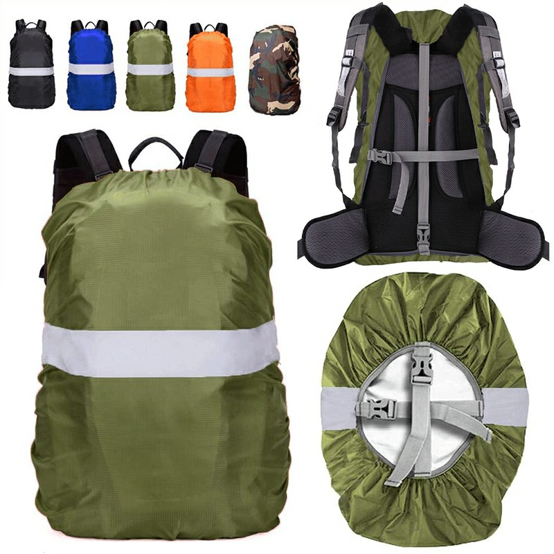 Outdoor Reflective Function Waterproof Dustproof Backpack Rain Cover Shoulder Bag Cover Army Green - M