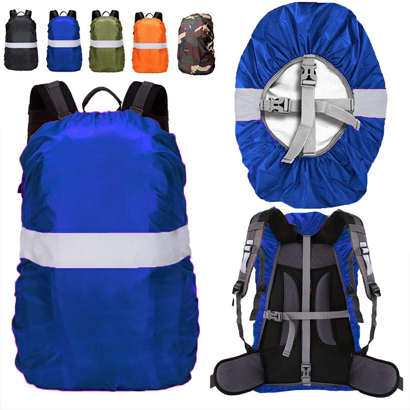 Outdoor Reflective Function Waterproof Dustproof Backpack Rain Cover Shoulder Bag Cover Blue - S