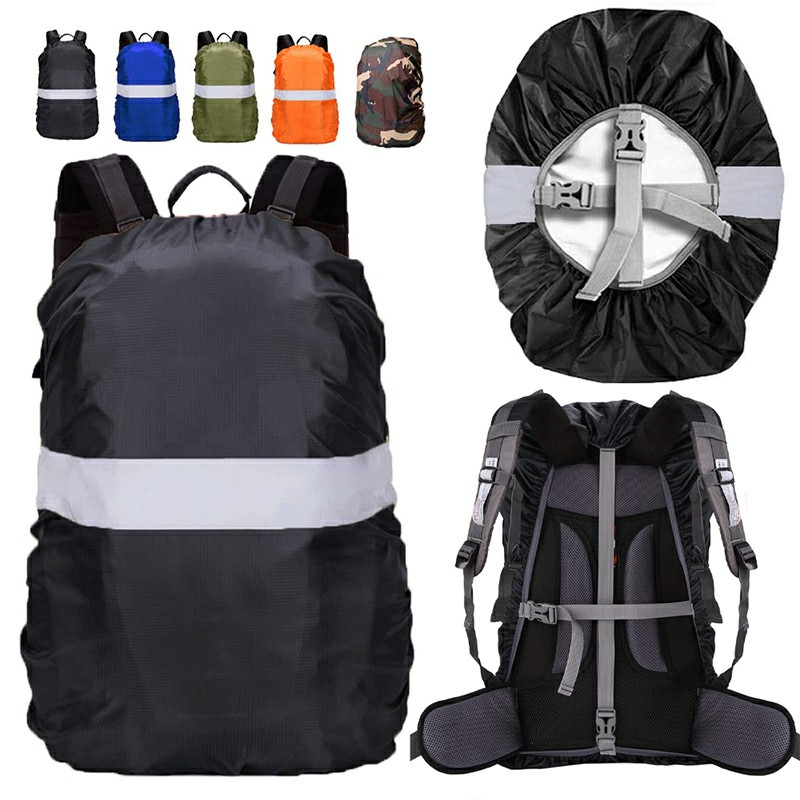 Outdoor Reflective Function Waterproof Dustproof Backpack Rain Cover Shoulder Bag Cover Black - XS