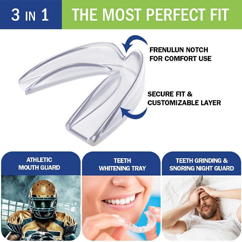 4 pcs Anti Snoring Sleep Apnea Mouth Guard Sleep Mouth Guard Dental Grinding Teeth Protector