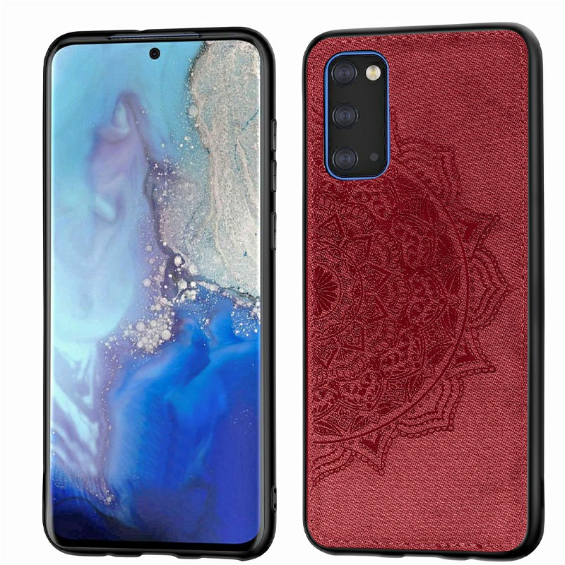 TPU Border Shockproof Fabric Mandala Printed Back Cover Phone Case for Samsung Galaxy S20 - Red