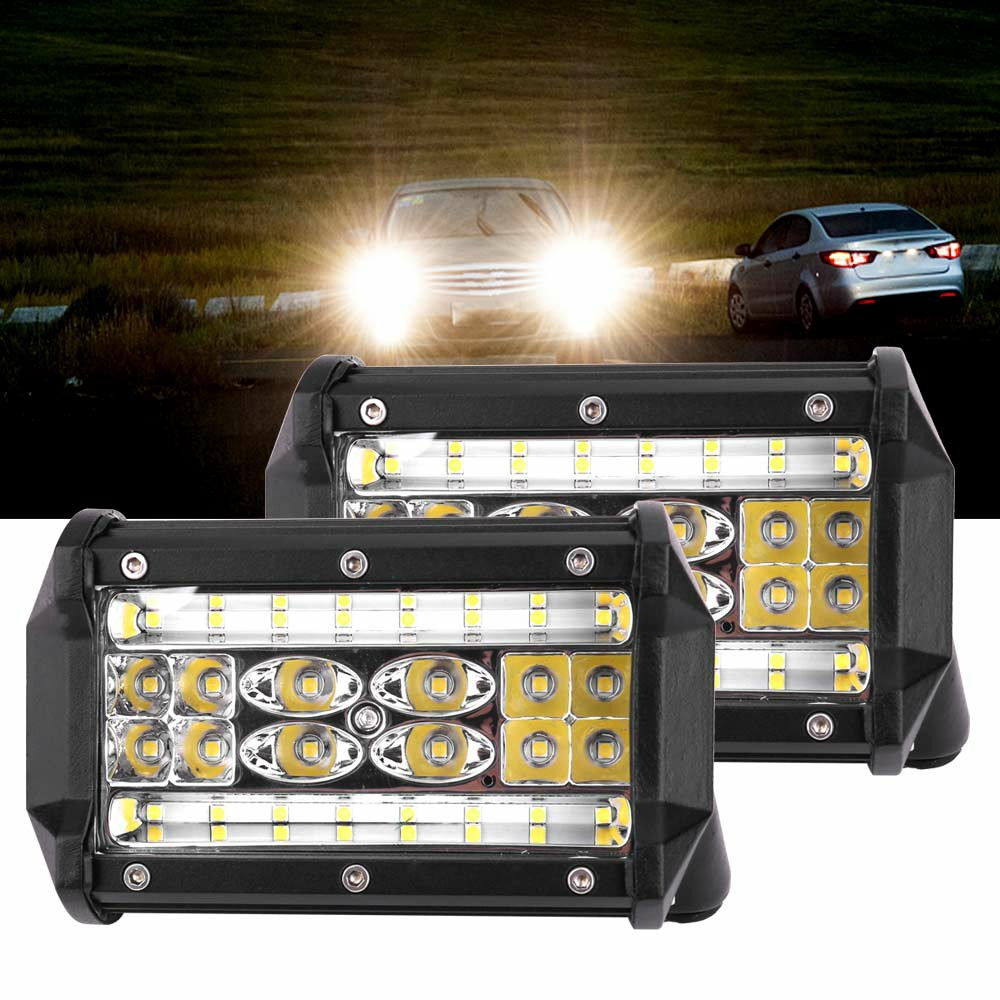 2pcs 84W LED Work Fog Light 5 Inch 20000LM Car Truck Jeep SUV Spot Flood Bar Lamp