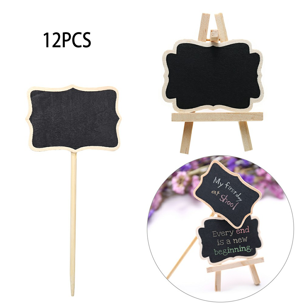 12pcs Mini Message Wooden Blackboard Note Sign Message Chalk Board Table Rectangle Top with Easel