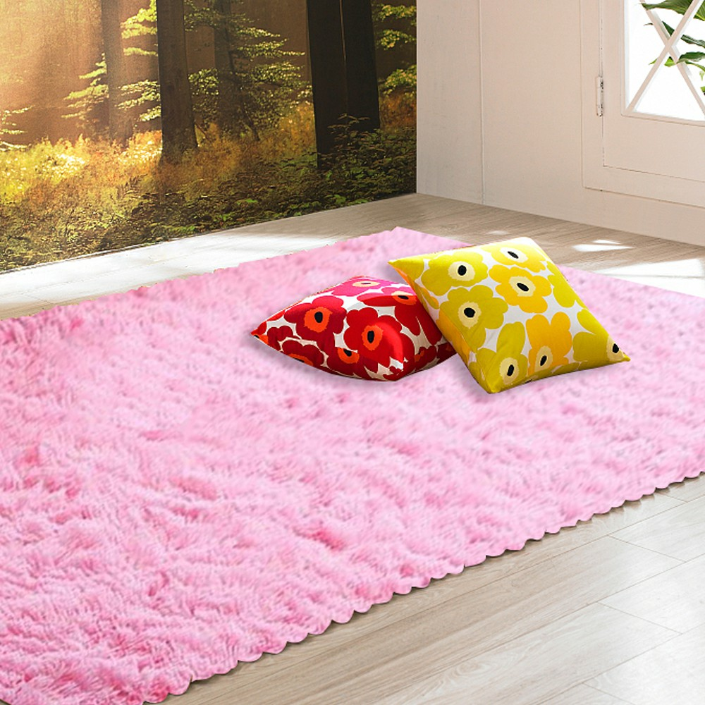 90x160cm Warm Shaggy Rugs Floor Carpet Area Soft Large Rug Home Mats Living Room Bedroom - Pink