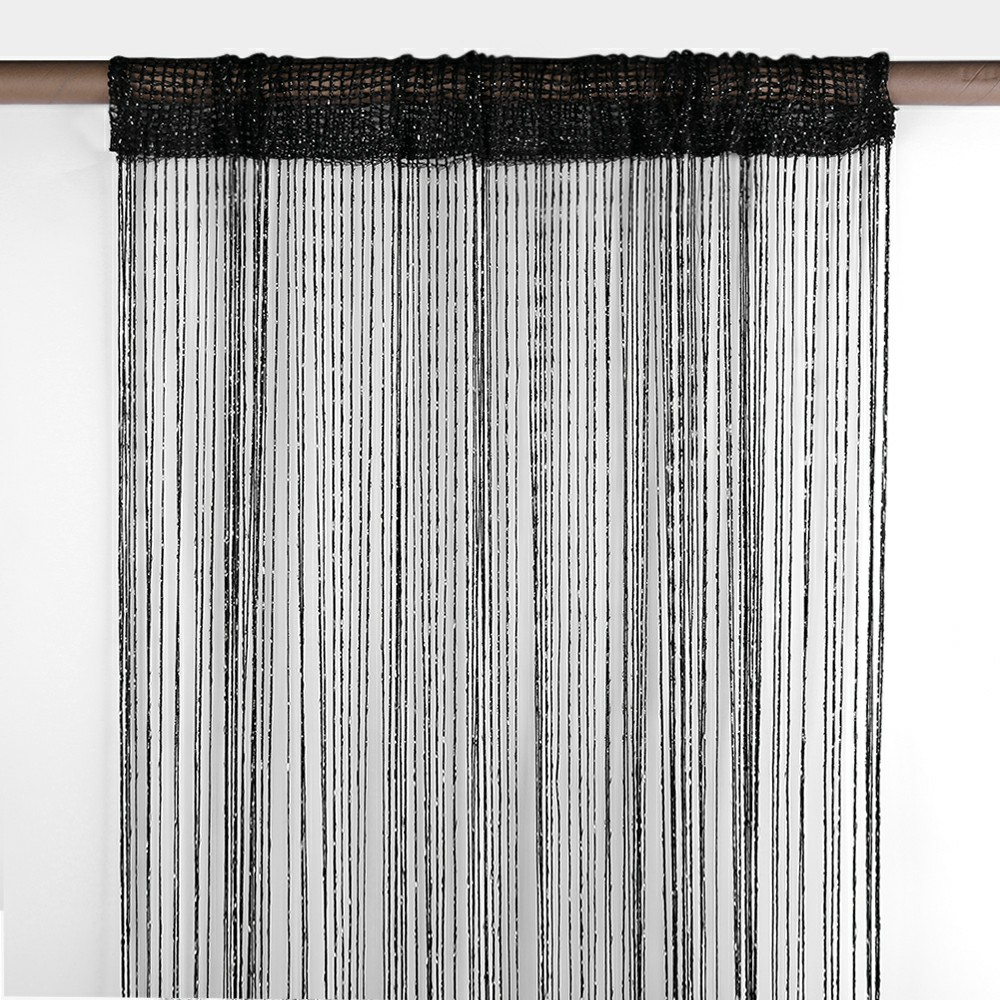 String Curtains Net Fringe Blind Panel Door Tassel Fly Screen Windows Divider 100x200cm - Black