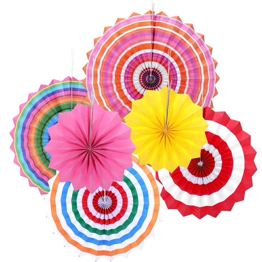 6pcs Paper Fan Flowers Wedding Baby Birthday Party Tissue Paper Table Decoration - Multicolors
