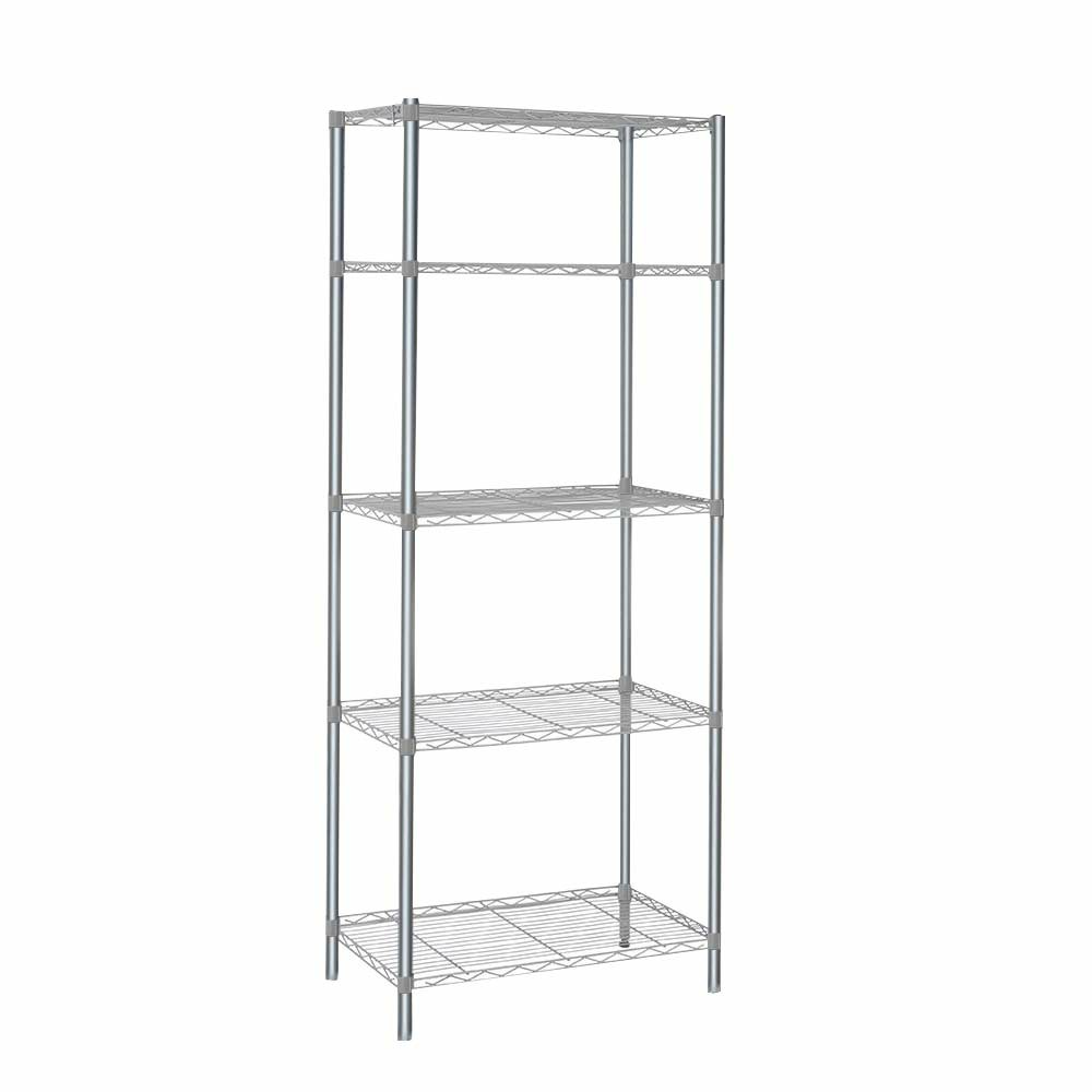 Silver Metal Storage Rack Shelving Wire Shelf for Kitchen Office Bathroom Unit Stand - 5 Tier