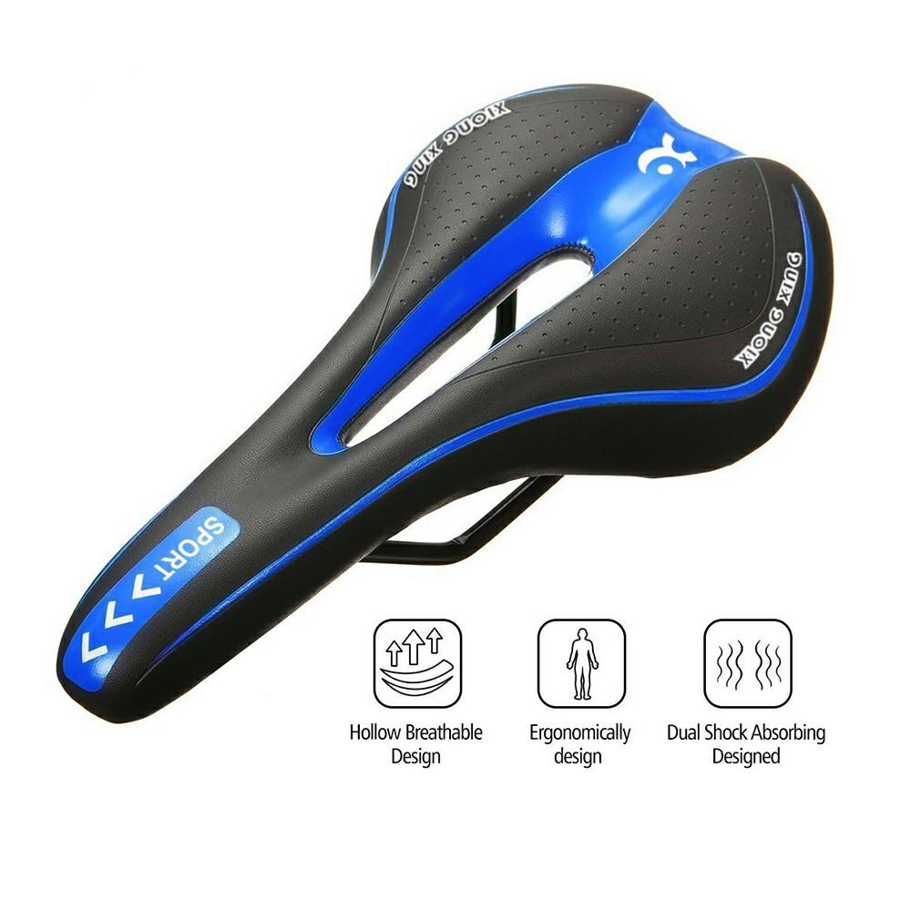 Bicycle Bike Cycle MTB Saddle Road Mountain Sports Soft Cushion Gel Pad Seat UK - Black+Blue