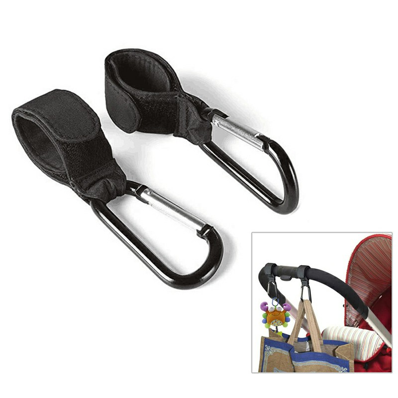 2 pcs Buggy Strap Carabiner Clips Pram Bag Hooks for Pushchair Buggies Stroller Walker