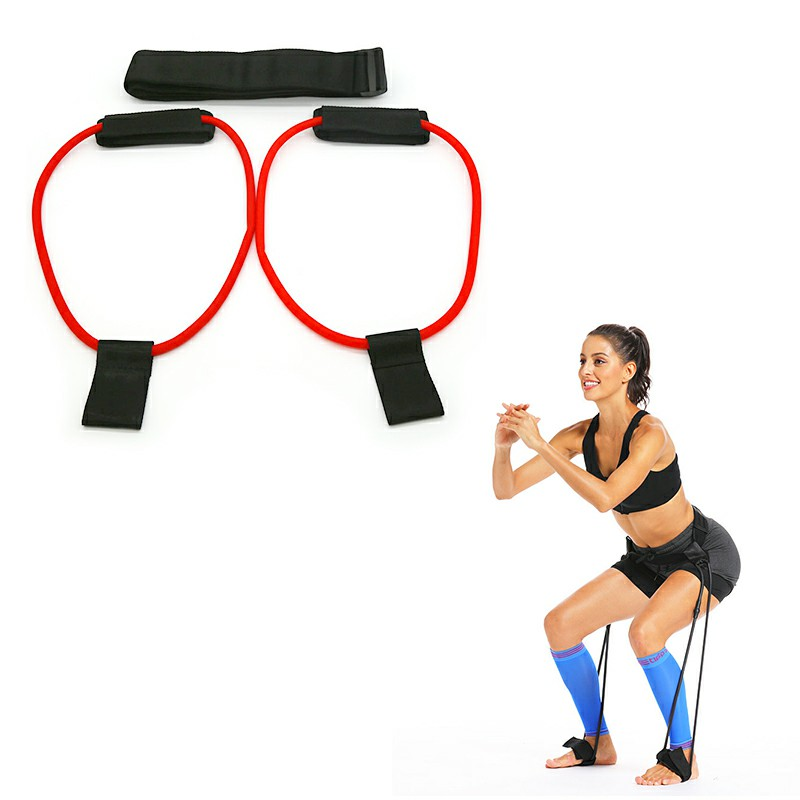 Fitness Resistance Belt Adjustable Elastic Workout Booty Butt Band for Gym Muscles Exercise - Red 30 lb