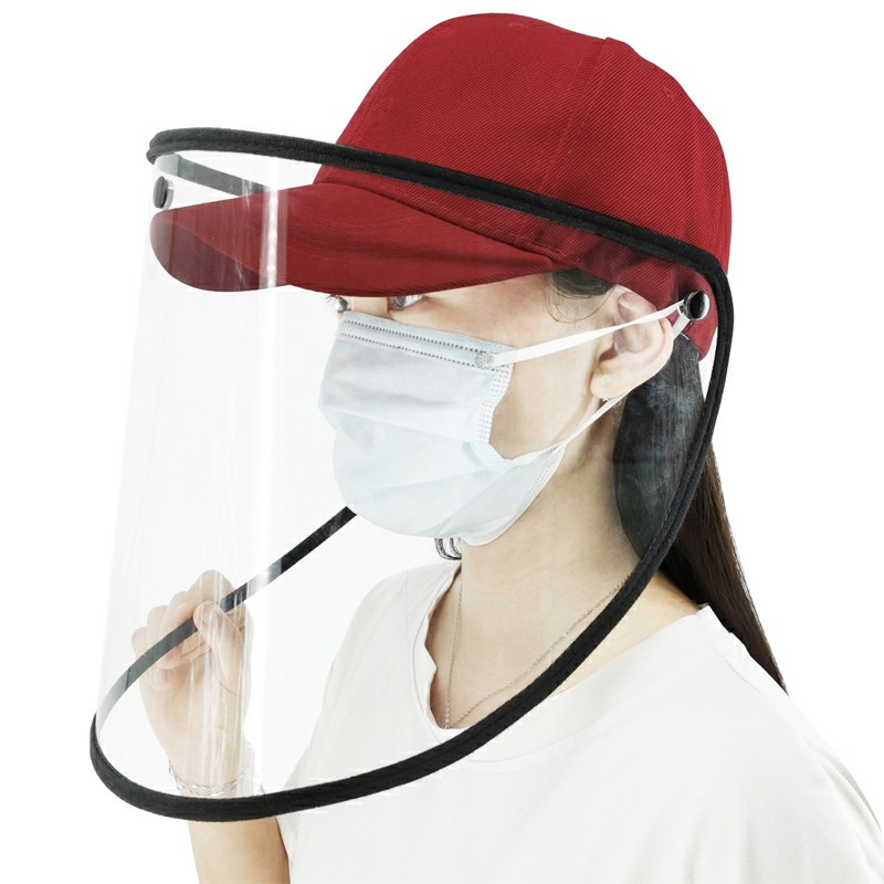 Splash Anti-Spitting Anti-Fog Anti-Oil Anti-Saliva Protective Baseball Cap Mask Face Shield - Red