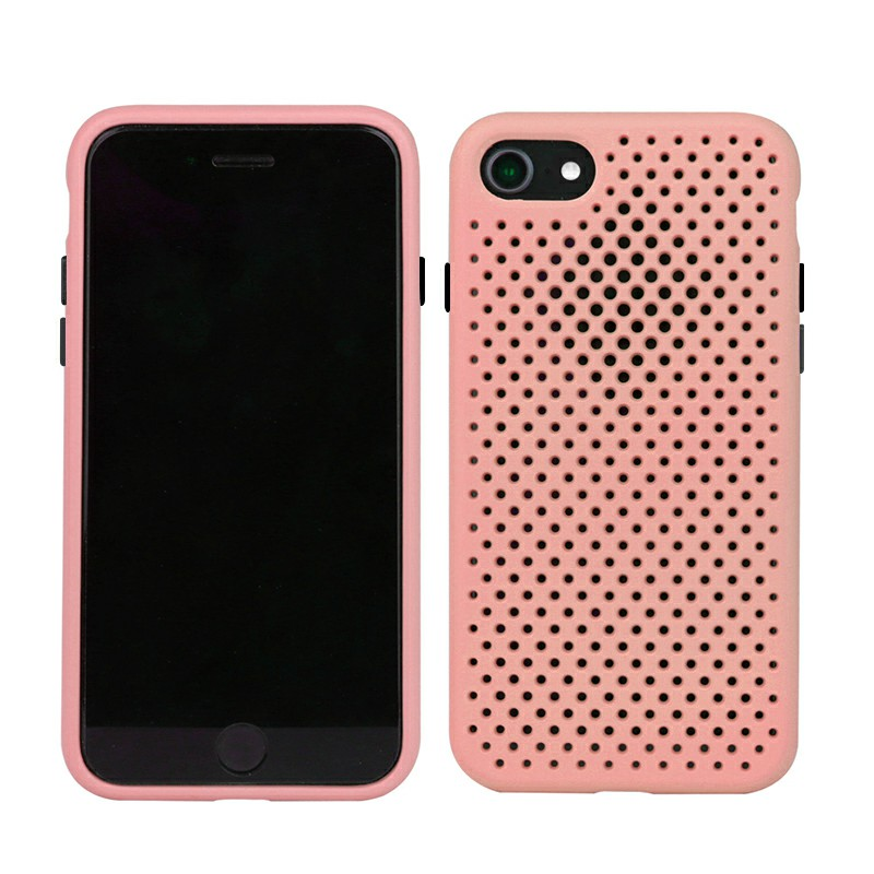 Silicone Gel Rubber Cooling Mesh Cover Shockproof Cover Case for iPhone7/8 - Pink