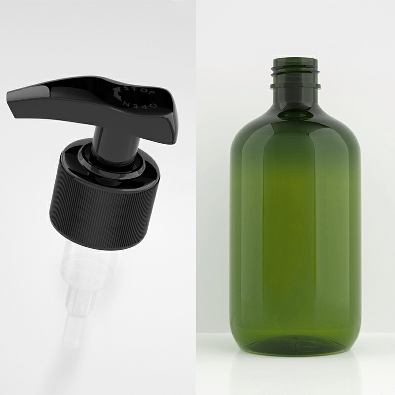 500ml Refillable Empty Bottle Clear Press Pump Plastic Bottle Shampoo Liquid Soap Dispenser - Green