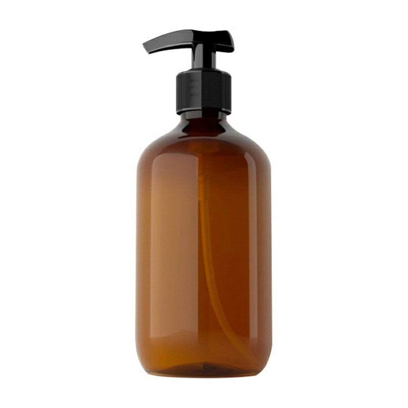 500ml Refillable Empty Bottle Clear Press Pump Plastic Bottle Shampoo Liquid Soap Dispenser - Brown