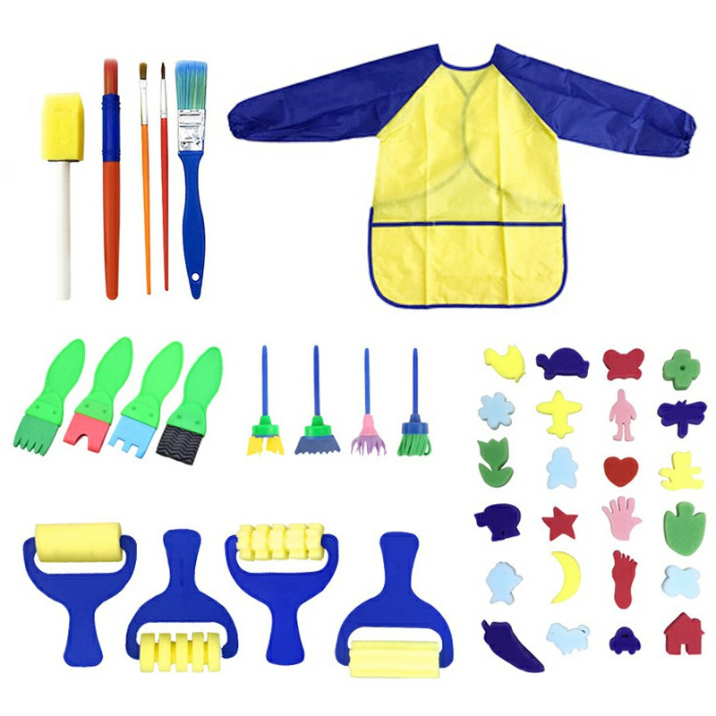 42 pcs Kids Paint Brushes Sponge Painting Brush Tool Set for Children Toddler Toy