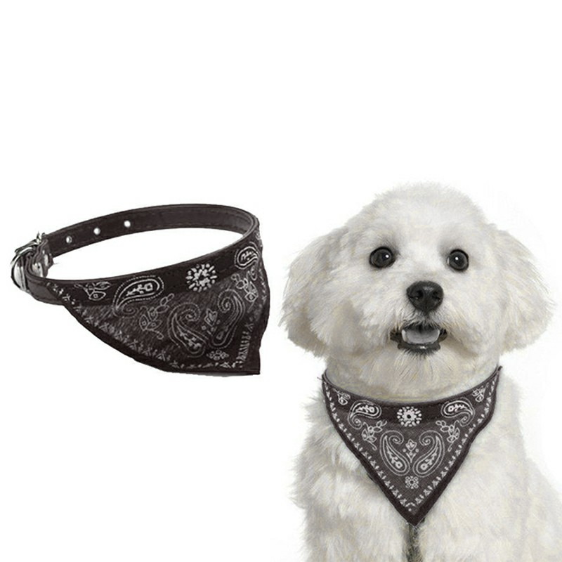 Adjustable Pet Dog Puppy Cat Neck Scarf Collar Neckerchief Necklace Size S - Black
