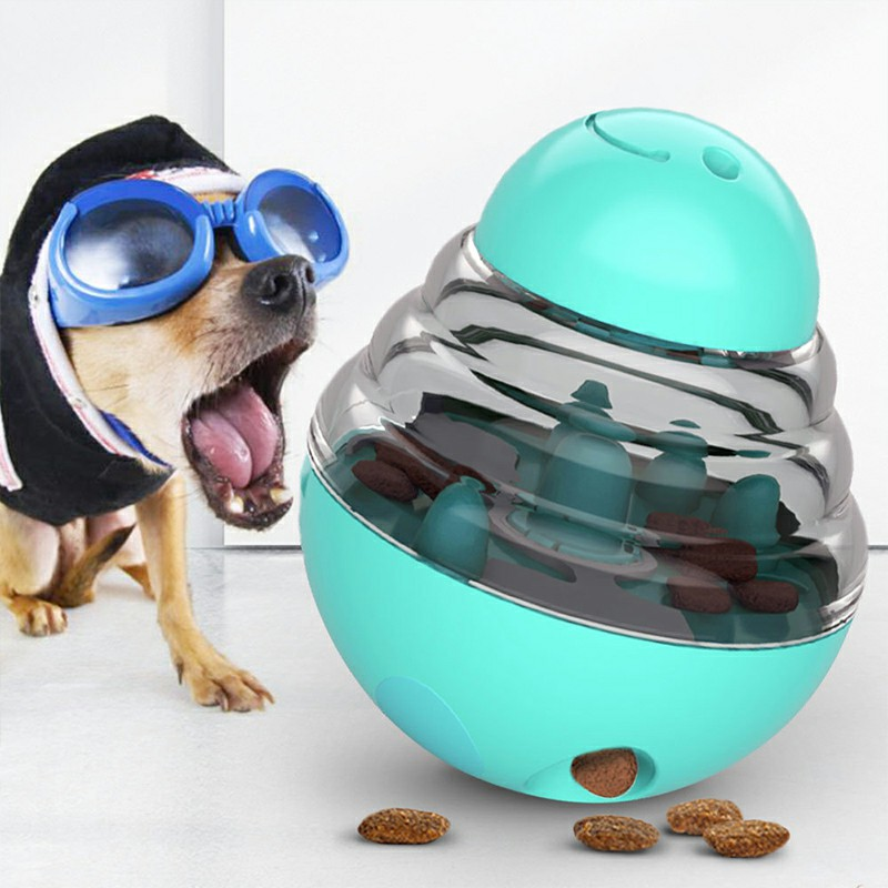 Dog Tumbler Leakage Toy Food Dispensing Chew Toy Puppy Interactive Toys - Blue