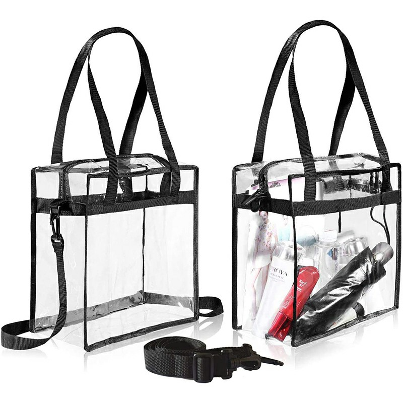 Transparent Clear Tote Bag Storage Plastic Bag Fashionable Bag - Black