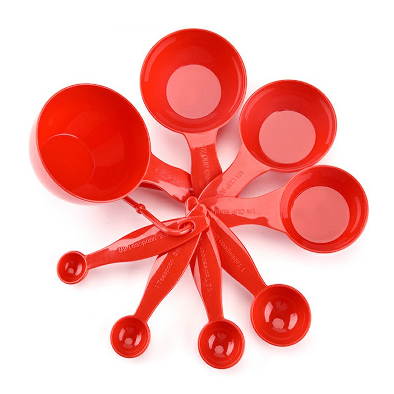 8pcs Plastic Measuring Cups Spoons Teaspoon Kitchen Cooking Tool Baking Gauge