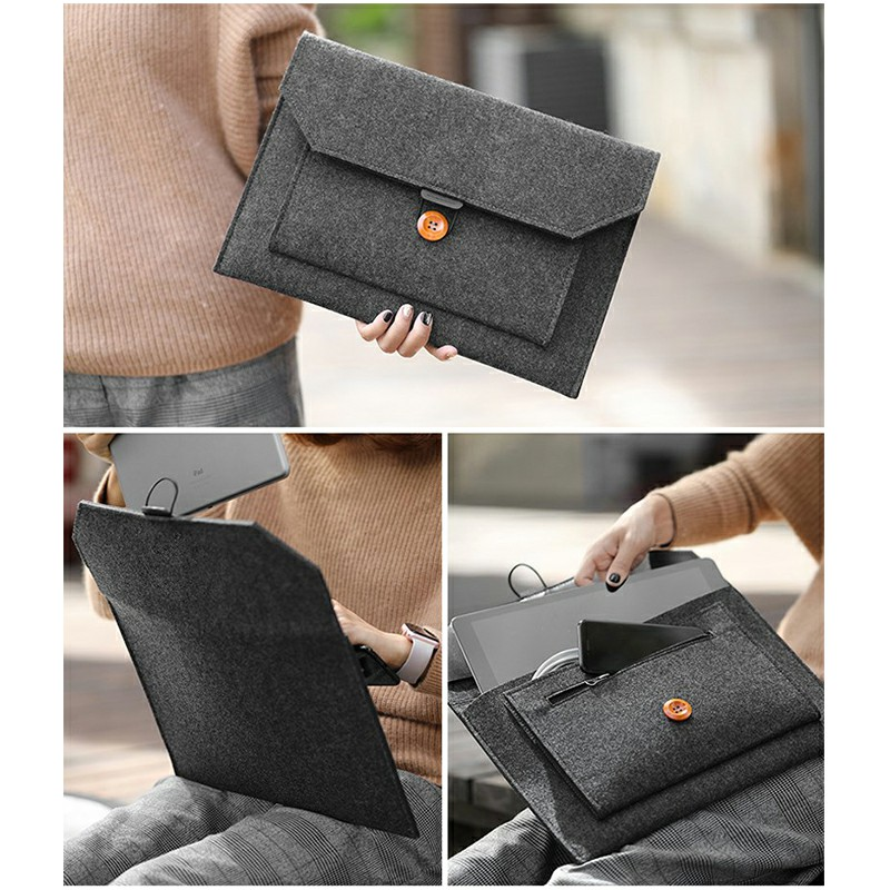 13 Inch MacBook Pro/iPad Sleeve Felt Laptop Protective Case - Dark Grey