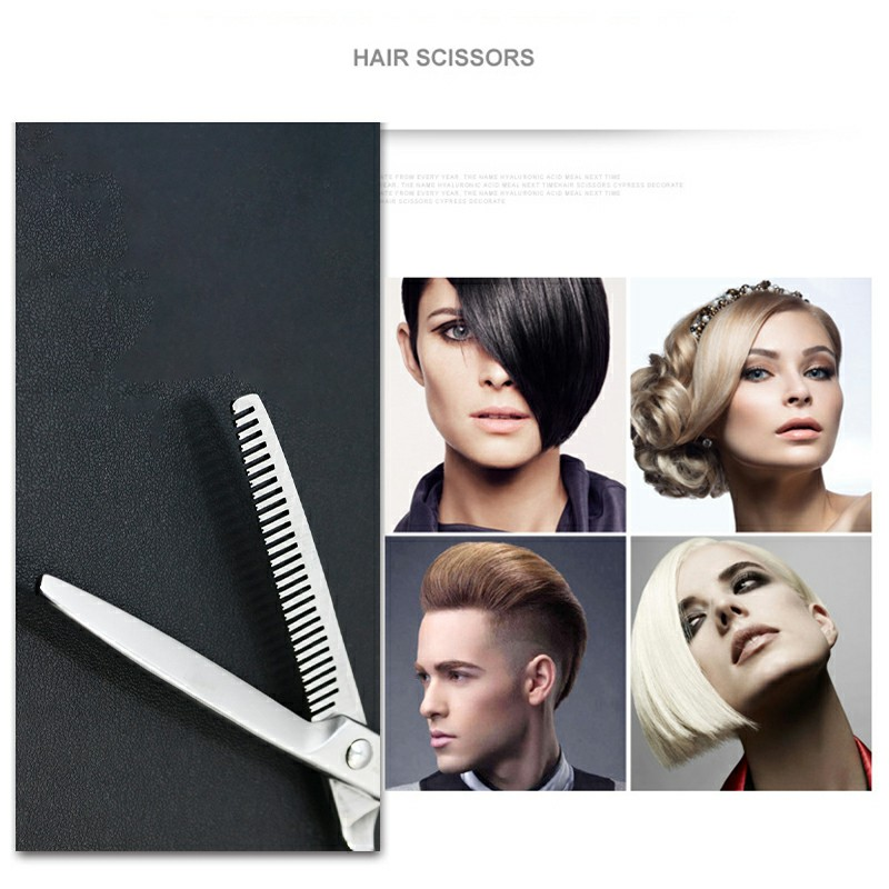 Stainless Steel Haircut 6 inch Scissors Professional Salon Hairdressing Hair Cutting Set - Tooth Scissor