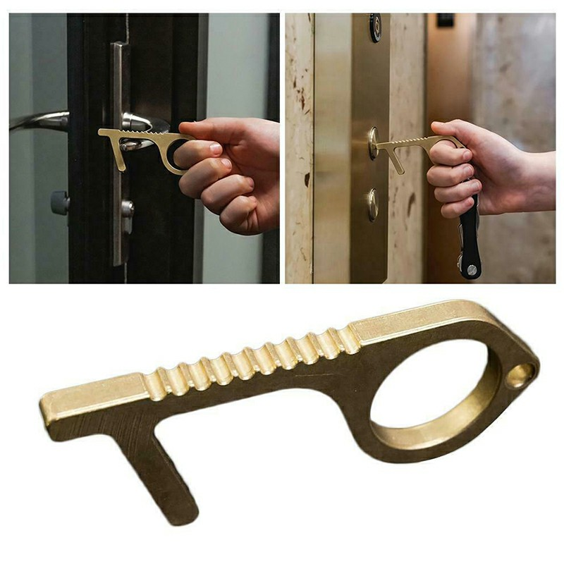 2pcs Hand EDC Door Opener Brass Hygiene Contactless Door Opener