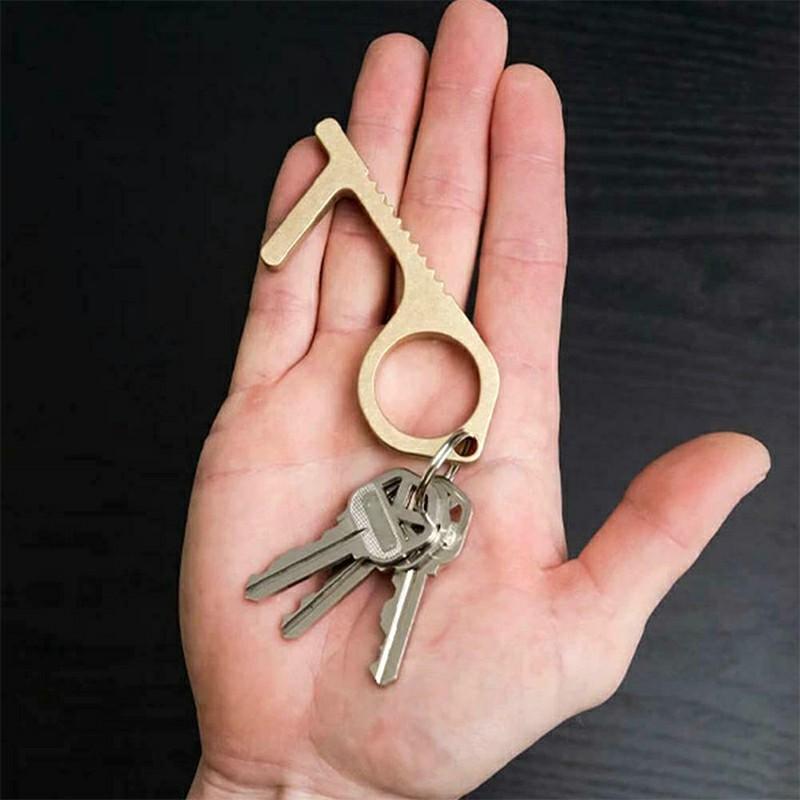 2pcs Hand EDC Door Opener Brass Hygiene Contactless Door Opener