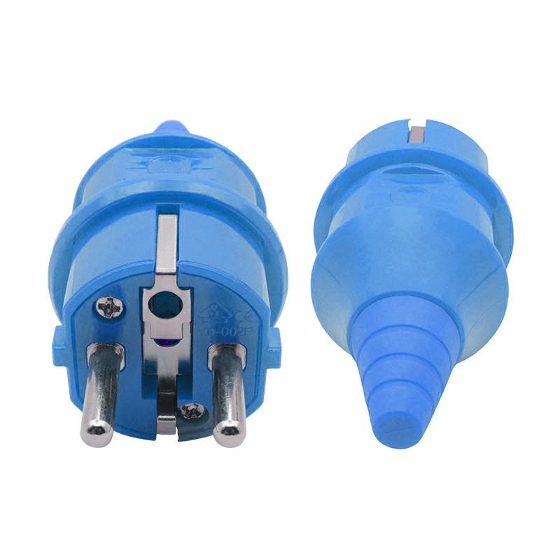 AC 250V 16A Waterproof 2 Male Poles + Earth Industrial Euro Plug - Blue