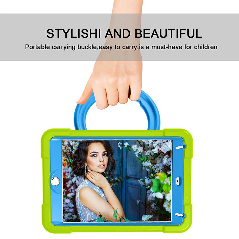 Waterproof Silicon Protective Back Case for iPad Mini 4/5 - Green + Blue