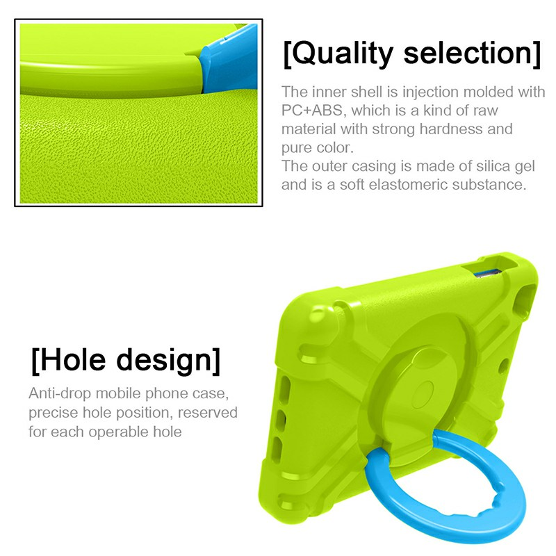 Silicon Shockproof Stand 360 Degree Rotation Back Cover Bags for iPad Mini1/2/3 - Green + Blue
