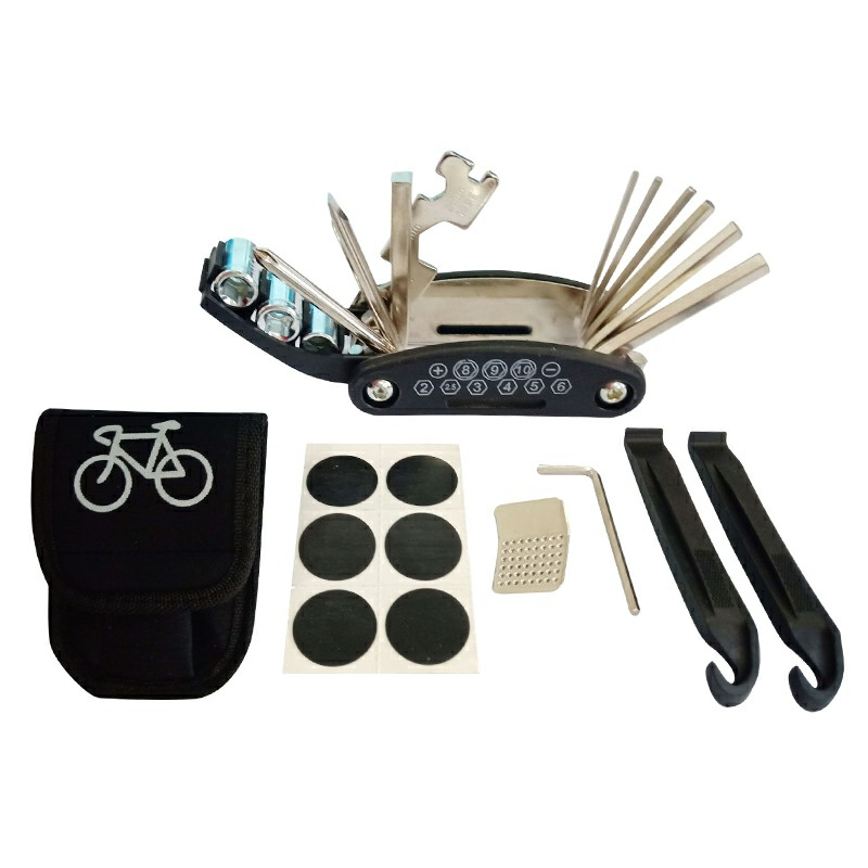 Bike Multitool Tire Puncture Repair Kit with 2 pcs Tire Pry Bars Rods