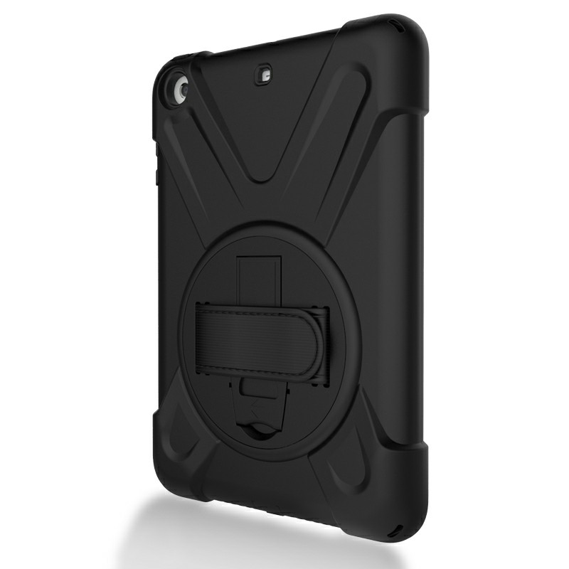 Heavy Duty Rugged PC Silicone Case with Rotating Bracket for iPad Min 1/2/3 - Black