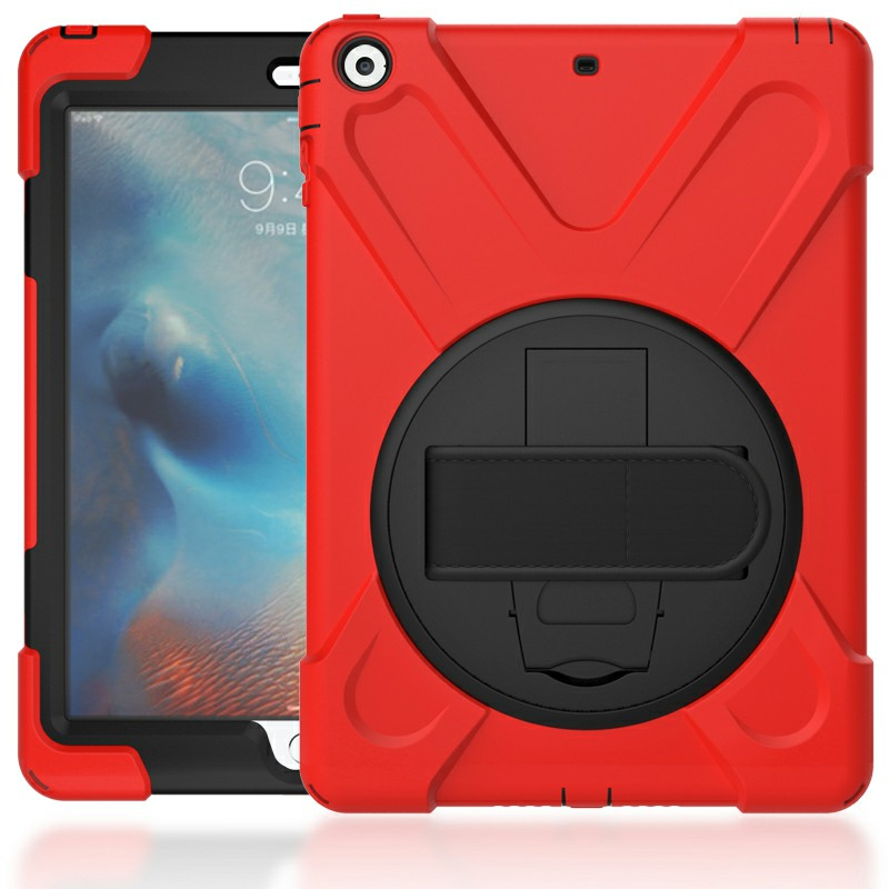 Heavy Duty Rugged PC Silicone Case with Rotating Bracket for Apple iPad 5 iPad Air - Red