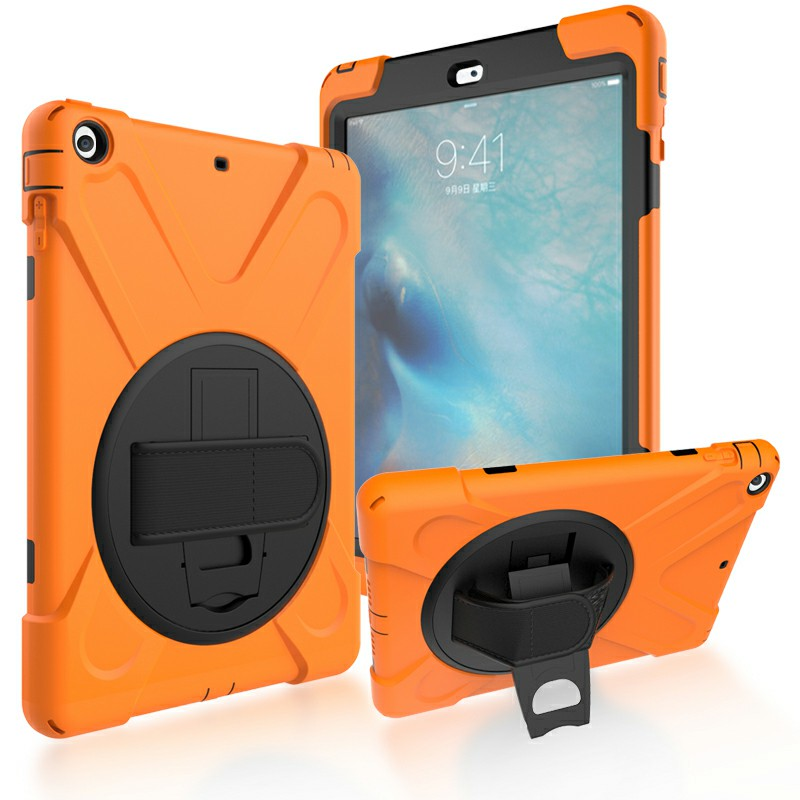 Heavy Duty Rugged PC Silicone Case with Rotating Bracket for Apple iPad 5 iPad Air - Orange
