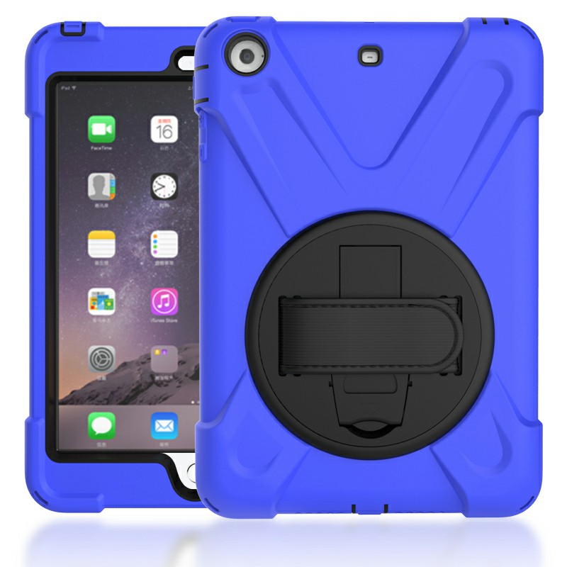 Heavy Duty Rugged PC Silicone Case with Rotating Bracket for iPad Min 1/2/3 - Blue