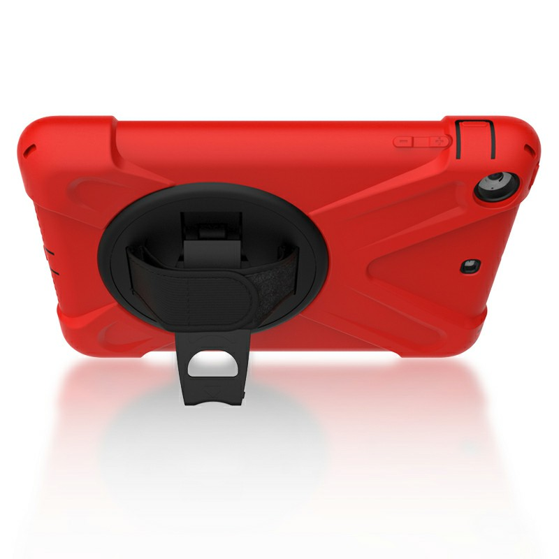 Heavy Duty Rugged PC Silicone Case with Rotating Bracket for iPad Min 1/2/3 - Red