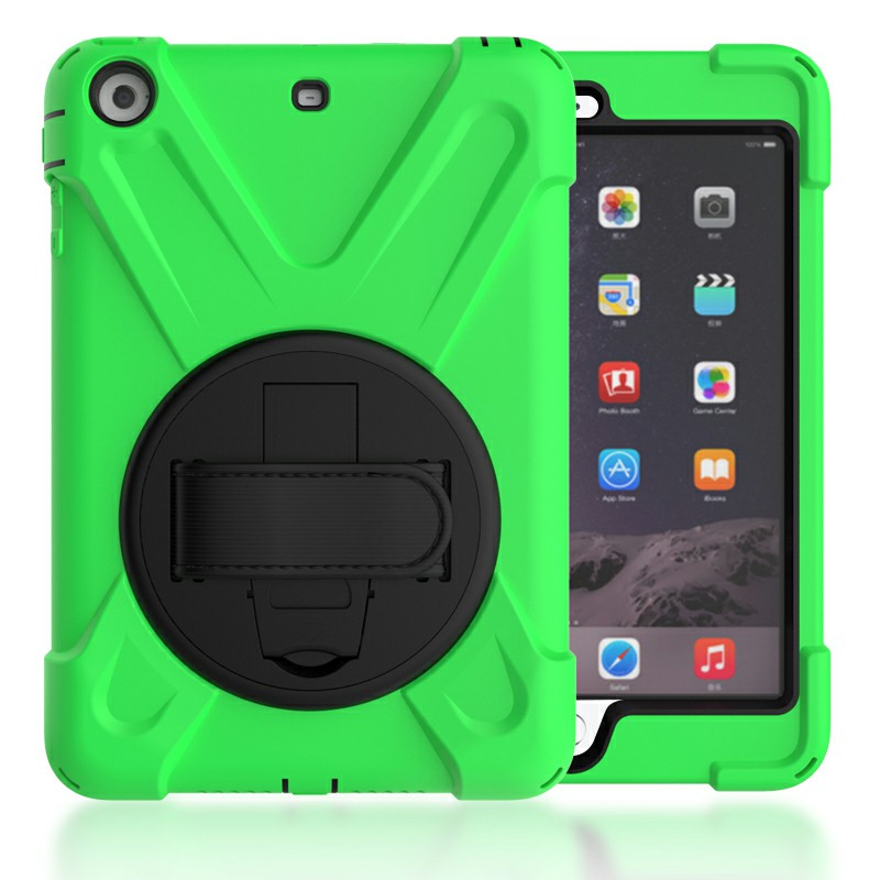 Heavy Duty Rugged PC Silicone Case with Rotating Bracket for iPad Min 1/2/3 - Green