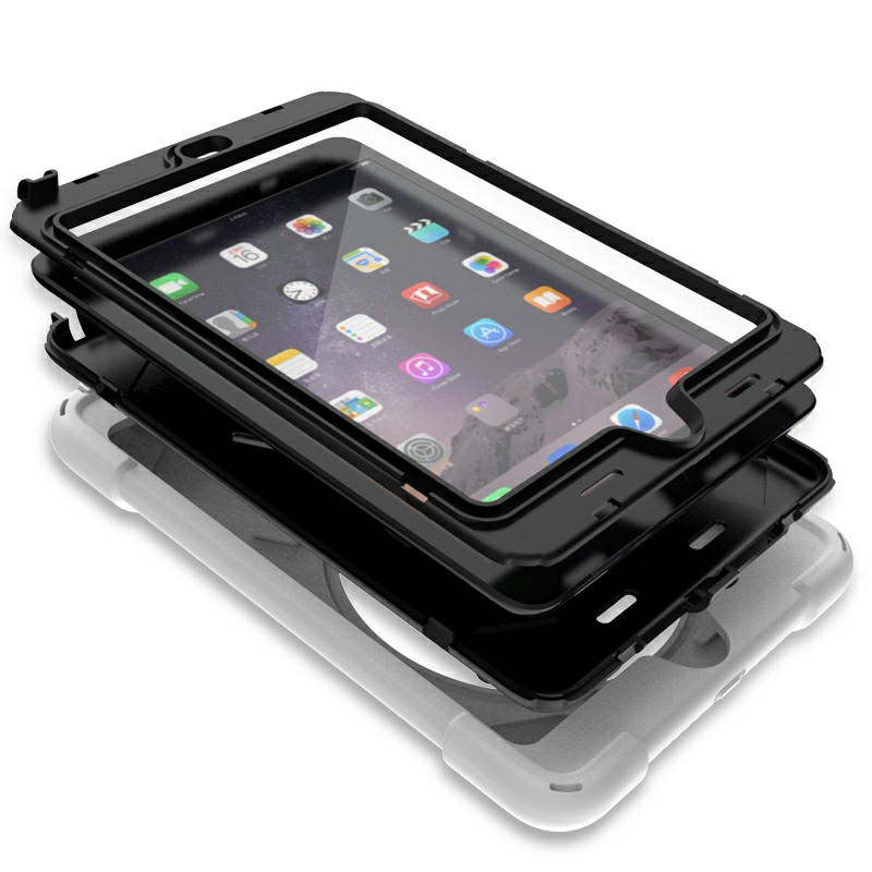 Heavy Duty Rugged PC Silicone Case with Rotating Bracket for iPad Min 1/2/3 - White