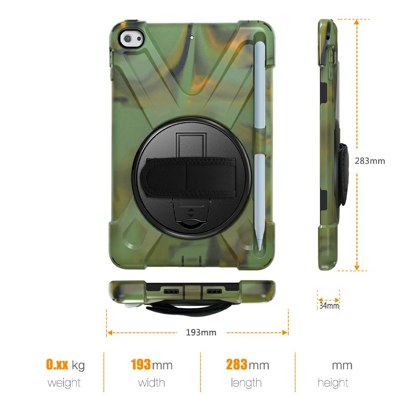 Waterproof Silicone Protective Back Case for Apple iPad Mini 4/5 - Camouflage Green