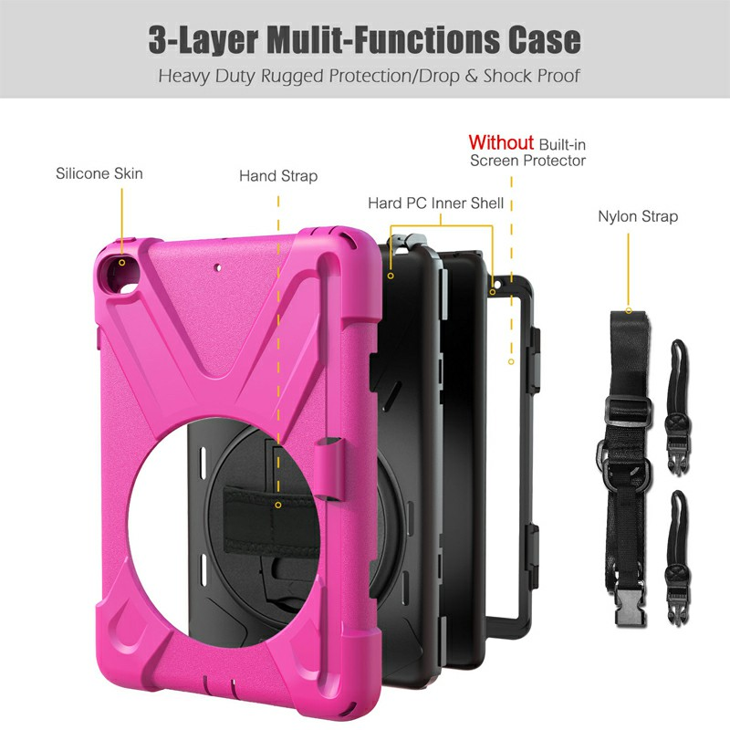 Waterproof Silicone Protective Back Case for Apple iPad Mini 4/5 - Hot Pink