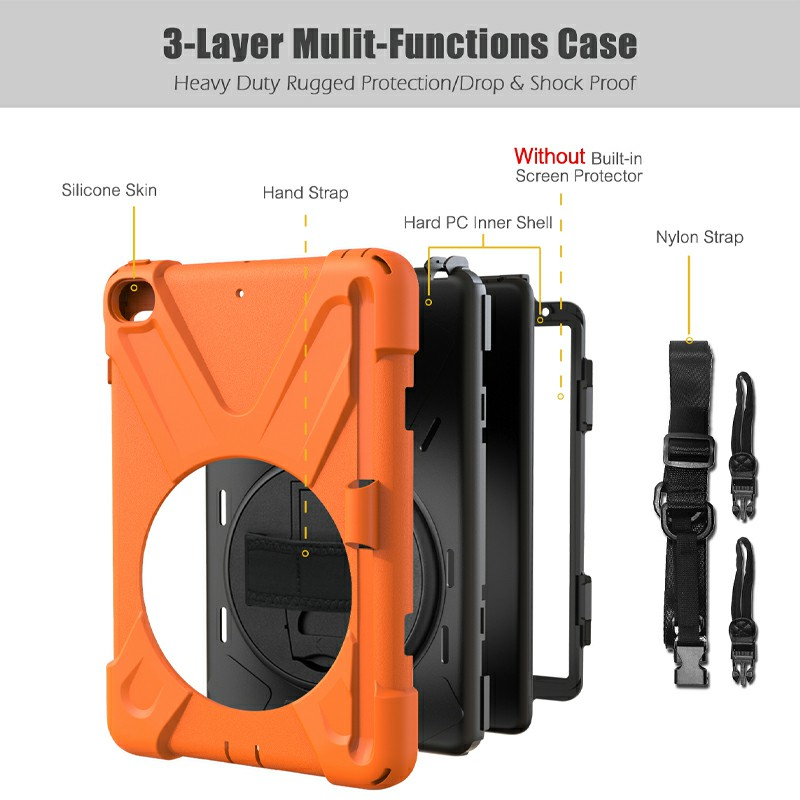 Waterproof Silicone Protective Back Case for Apple iPad Mini 4/5 - Orange