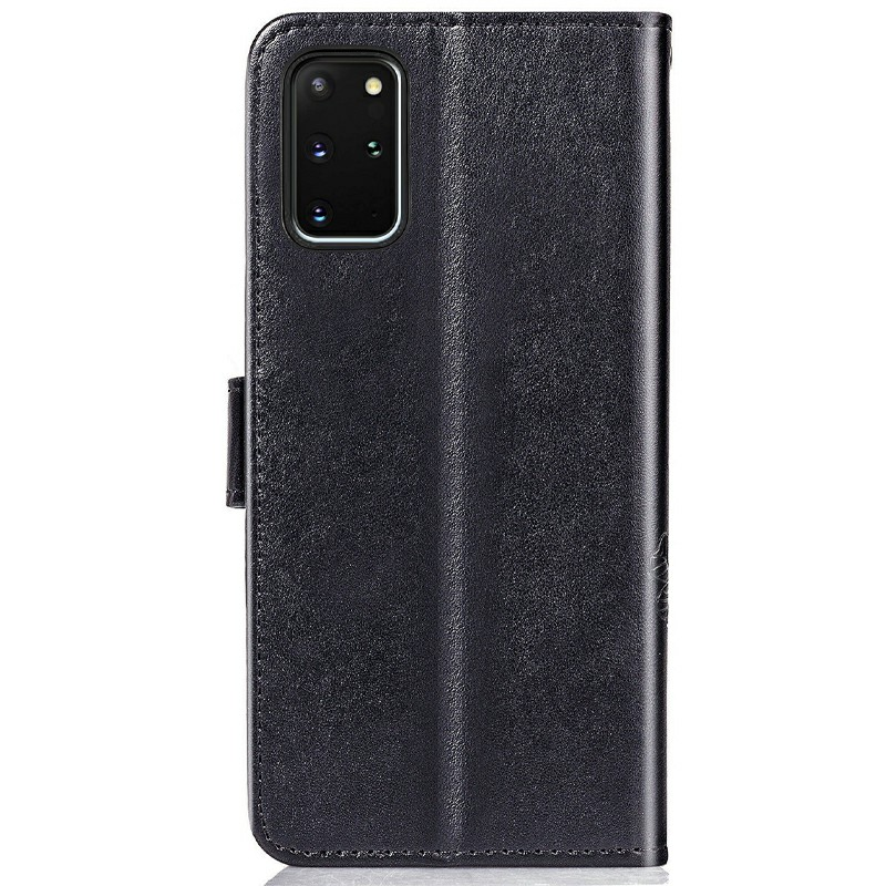 Wallet Card Case Cover Clover Printed Phone Case for Samsung Galaxy S20 Plus - Black