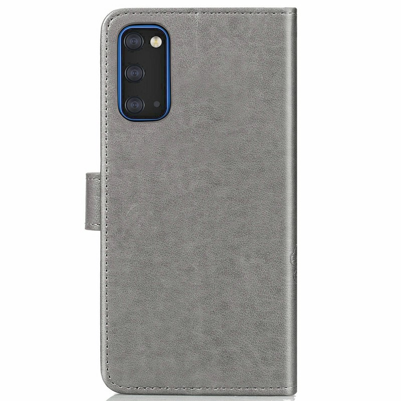 PU Leather Printed Case Flip Stand Cover for Samsung Galaxy S20 - Grey