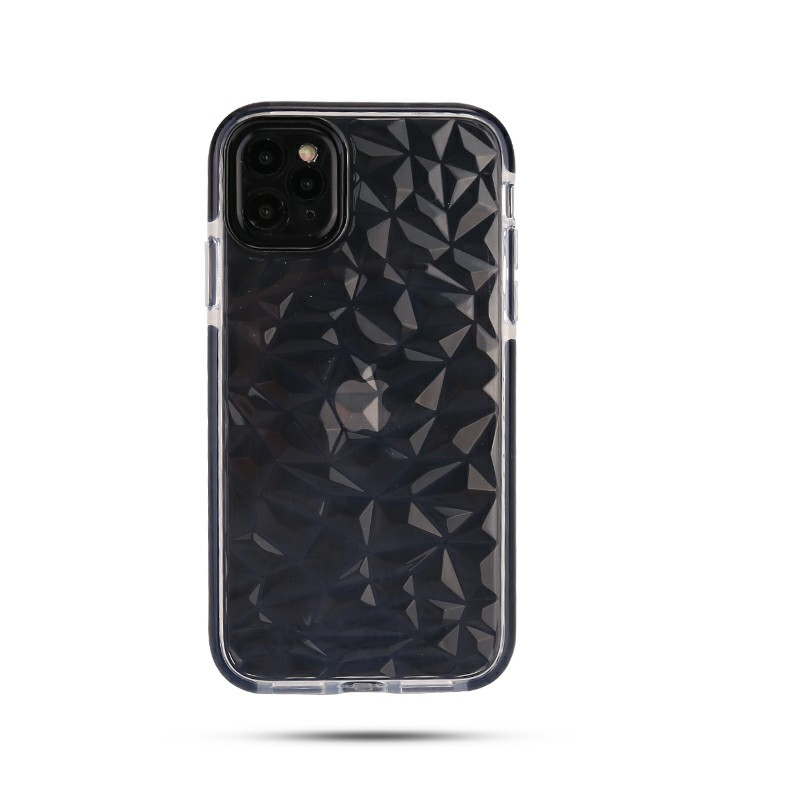 Diamond Pattern Slim Silicone TPU Case for iPhone 11 Pro Max - Black