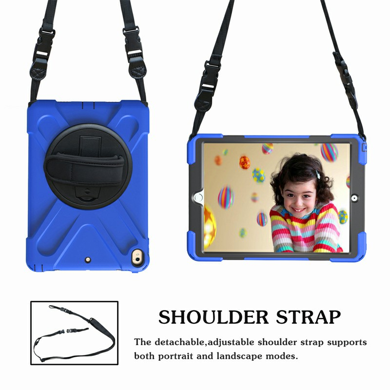 Heavy Duty Rugged PC Silicone Rotating Case for Apple iPad 10.5 - Blue
