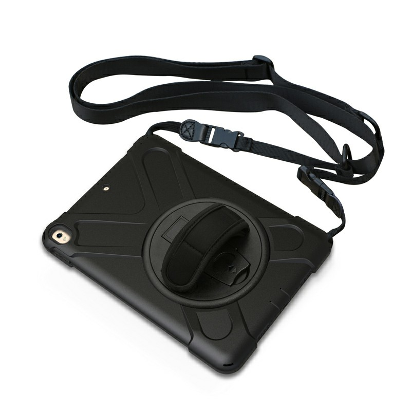 Heavy Duty Rugged PC Silicone Rotating Case for Apple iPad 10.5 - Black