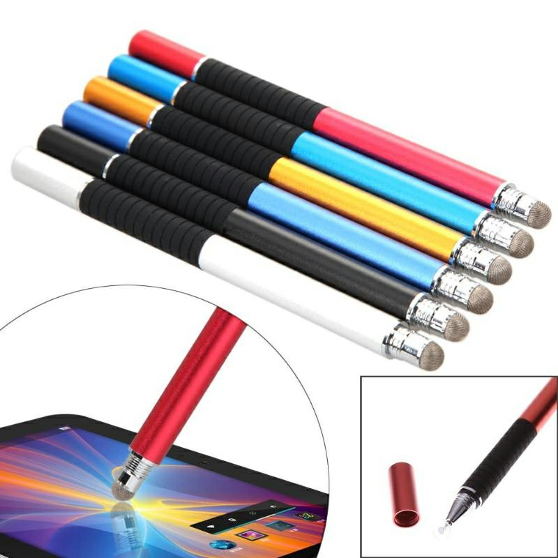 2 in 1 Multifunction Fine Point Round Thin Tip Touch Screen Pen - Red