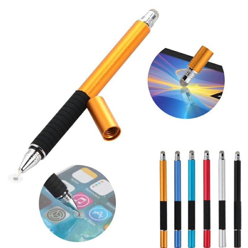 2 in 1 Multifunction Fine Point Round Thin Tip Touch Screen Pen - Gold